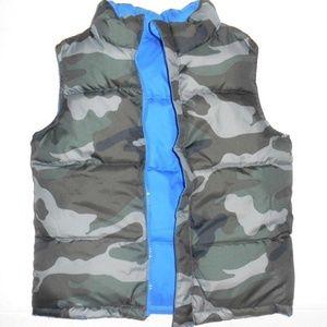 Vintage Reversible Puffer Camouflage Vest Coat